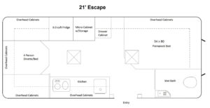 21 foot Escape floor plan. Click to enlarge.